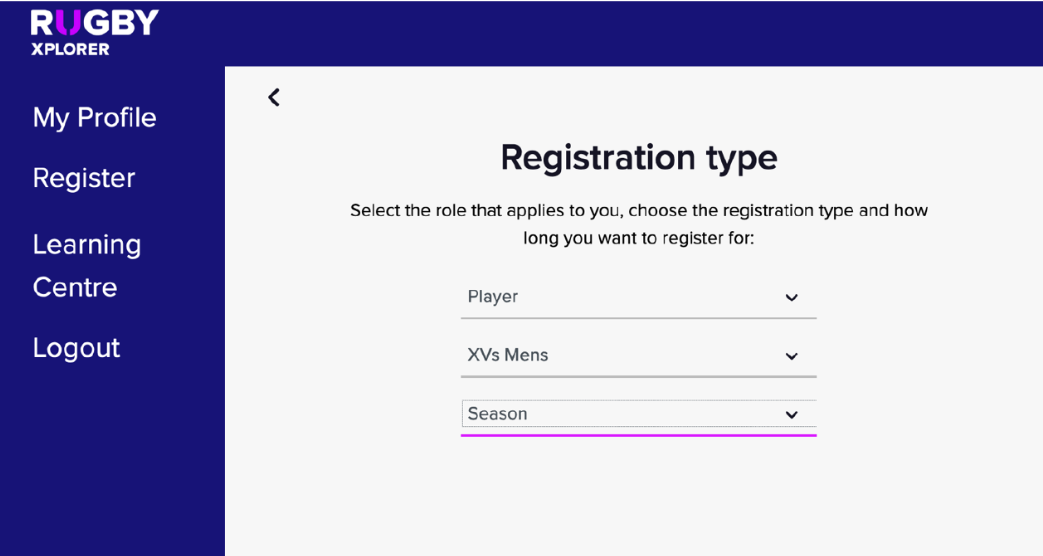 Select type of registration in Rugby Xplorer